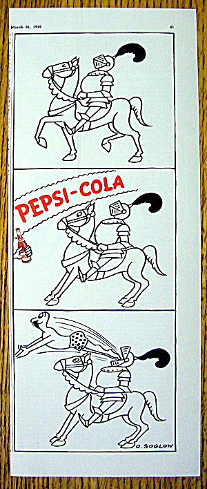 1942 Pepsi-cola With A Knight On A Horse