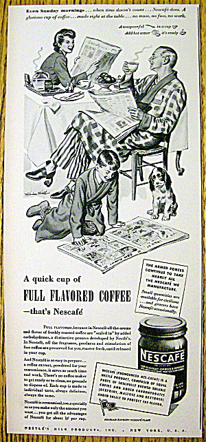 1944 Nescafe Coffee With Man & Woman Enjoying Coffee