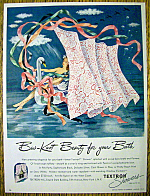 1945 Textron Shower Curtains with Woman on a Swan (Image1)