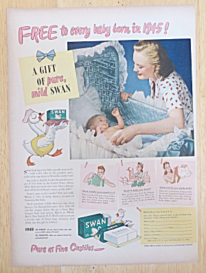 1945 Swan Soap With Woman Playing With Baby