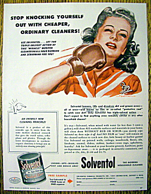 1946 Solventol HouseHold Cleaner w/Woman Punching Self (Image1)