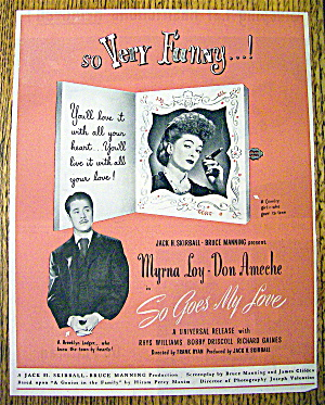 1946 So Goes My Love With Myrna Loy & Don Ameche