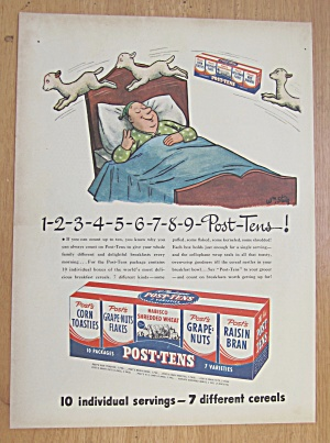 1946 Post Tens Cereal With Man Counting Sheep In Bed