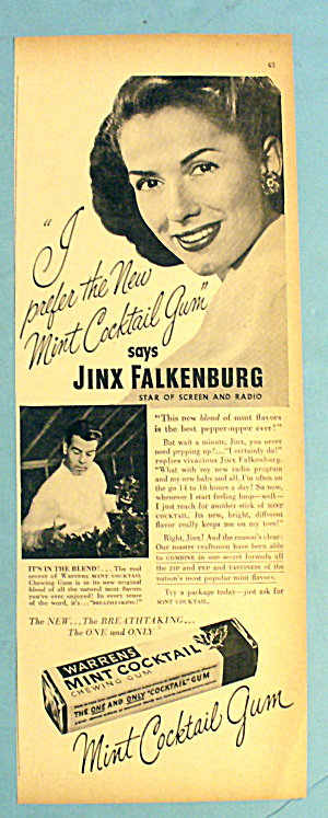 1947 Warren Mint Cocktail Gum W/ Jinx Falkenburg