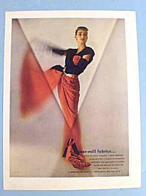 1947 Amermills Fabric with Lovely Woman in Red (Image1)
