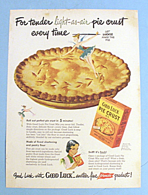 1948 Good Luck Pie Crust Mix W/let Luckie Make The Pie