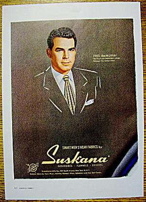 1948 Suskana Smart Men's Wear Fabric W/ Fred Macmurray