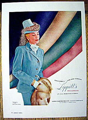 1948 Lippitt Twillardine Fabric w/ Woman in Suit (Image1)
