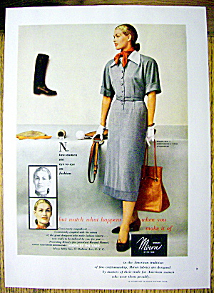 1948 Miron Wool By The Yard W/ Woman Holding Purse