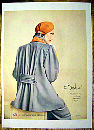 1948 Suskana Fabrics w/ Woman in Gray Broadcloth Suit (Image1)