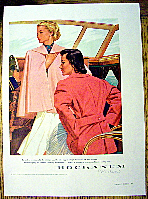 1948 Hockanum Woolens W/ Women On A Boat