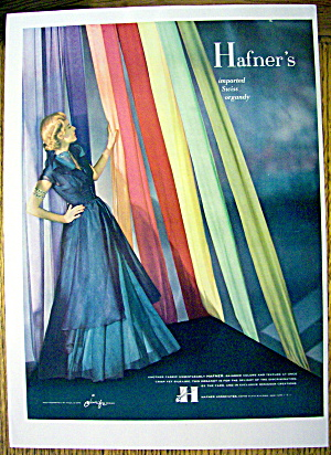 1948 Hafner Fabric W/ Woman In Blue Dress