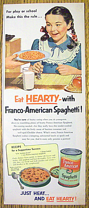 1952 Franco American Spaghetti With Girl Smiling