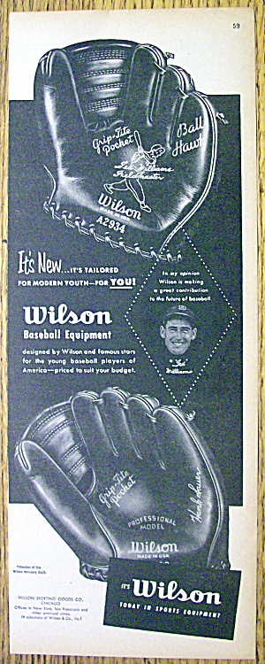 1953 Wilson Baseball Glove With Ted Williams