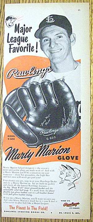 1953 Rawlings Marty Marion Baseball Glove With Marty
