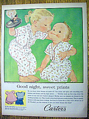 1958 Carter Dimple Knit Sleepers with Girl Kissing Boy (Image1)