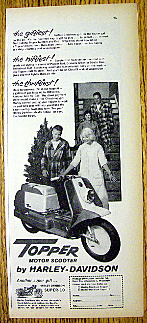 1960 Harley Davidson Topper Scooter With Boy And Girl