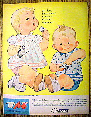 1960 Carter Block Print Topper Sets with Boy and Girl (Image1)