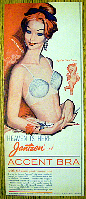 1960 Jantzen Accent Bra with Woman Smiling In Bra (Image1)
