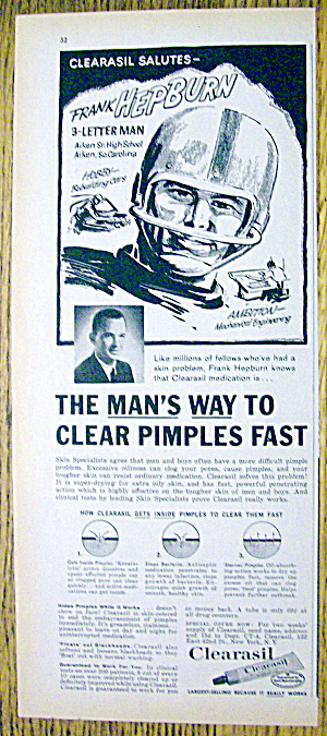 1961 Clearasil With Football's Frank Hepburn