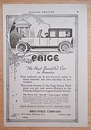 1918 Paige Automobile With Town Car Six 55