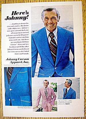1974 Johnny Carson Apparel With Tv's Johnny Carson