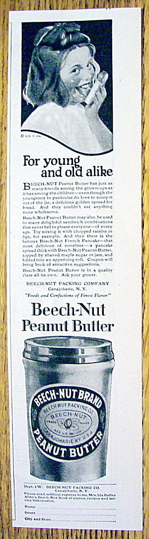 1924 Beech-nut Peanut Butter With Girl Licking Bread