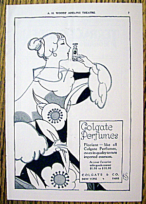 1928 Colgate Perfume with Lovely Woman Sniffing Perfume (Image1)