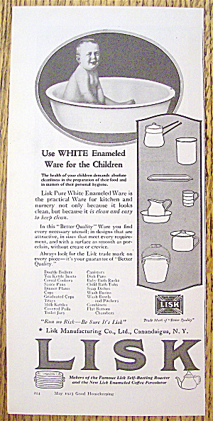 1923 Lisk Pure White Enamel Ware with Baby in Tub (Image1)