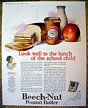 1924 Beech-nut Peanut Butter W/ Sandwich, Milk & Apple