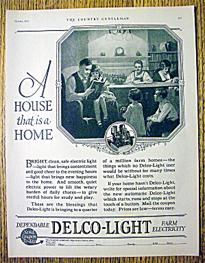 1926 Delco Light Company With Family Around The Table