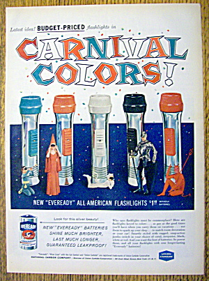 1959 Eveready Batteries With Colorful Flashlights