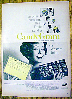 1959 Western Union Candy Gram With Woman & Candy