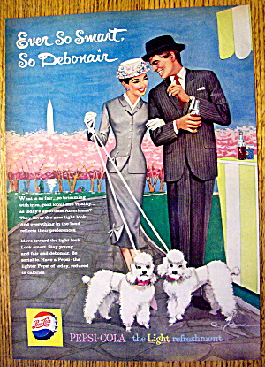 1959 Pepsi Cola (Pepsi) w/ Woman & Man Walking Poodles (Image1)