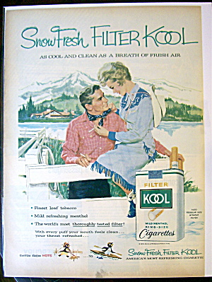 1959 Kool Cigarettes with Woman Sitting On Fence By Man (Image1)