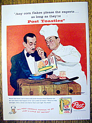1959 Post Toasties Corn Flakes W/chef By Dick Sargent