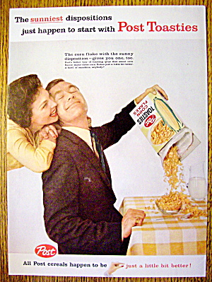 1959 Post Toasties With Man Pouring Cereal Into Bowl