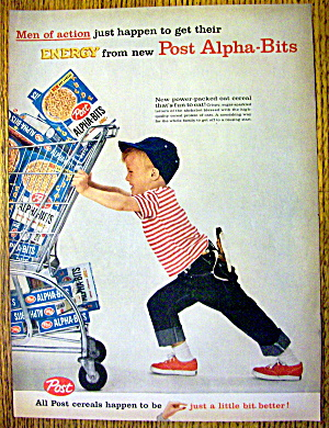 1959 Post Alpha Bits W/boy Pushing Cart Full Of Cereal
