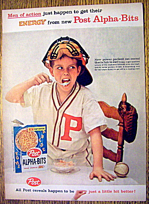 1959 Post Alpha Bits W/ Baseball Catcher Eating Cereal