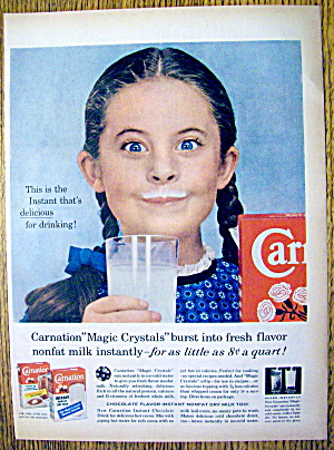 1959 Carnation Milk With Girl With A Milk Moustache