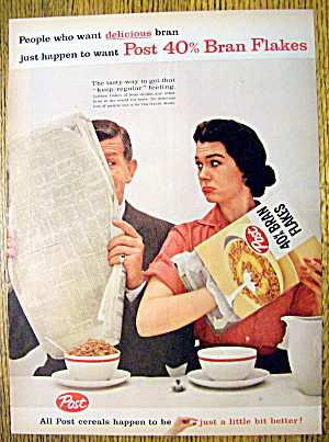 1959 Post 40% Bran Flakes With Woman & Empty Box