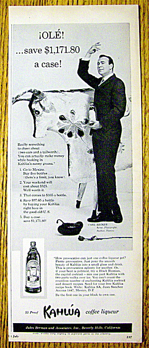 1960 Kahlua Coffee Liqueur with Actor Carl Reiner (Image1)