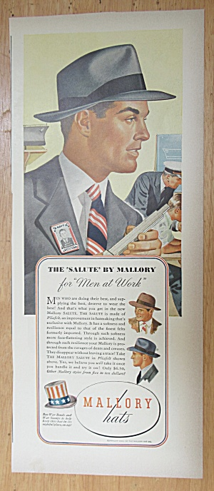 1943 Mallory Hats with a Man Wearing the Salute Hat  (Image1)