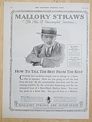 1925 Mallory Straw Hats with Man Wearing Straw Hat  (Image1)