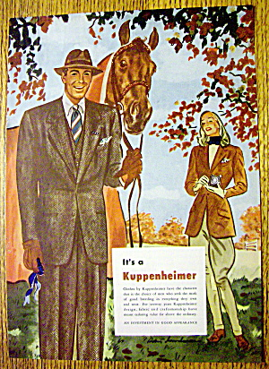 1946 Kuppenheimer w/Woman Taking Picture Of Man & Horse (Image1)