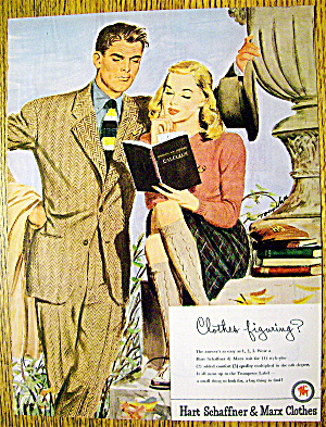 1946 Hart Schaffner & Marx w/ Man & Woman Reading Book (Image1)