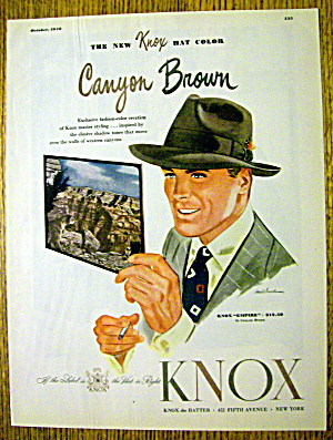 1946 Knox Hats With Man Wearing The Empire Hat
