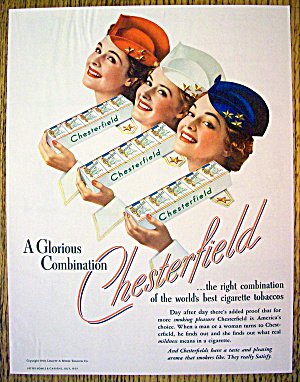 1928 Chesterfield Cigarettes With 3 Lovely Women