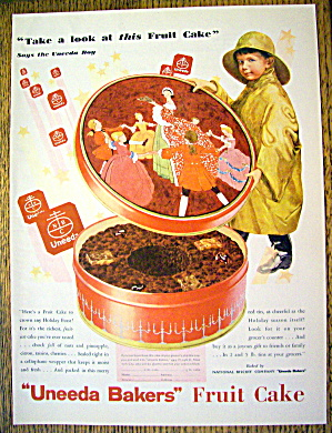 1930 Uneeda Fruit Cake With Boy In Raincoat