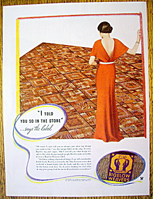 1934 Bigelow Weavers With Woman Looking At Rug